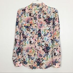 Express Factory Pink Floral Button Down Blouse- S